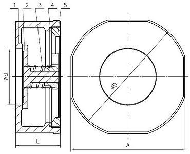 Чертеж Обратный клапан ABRA-D71-H71W-16 Ду80 Ру16 пружинный межфланцевый